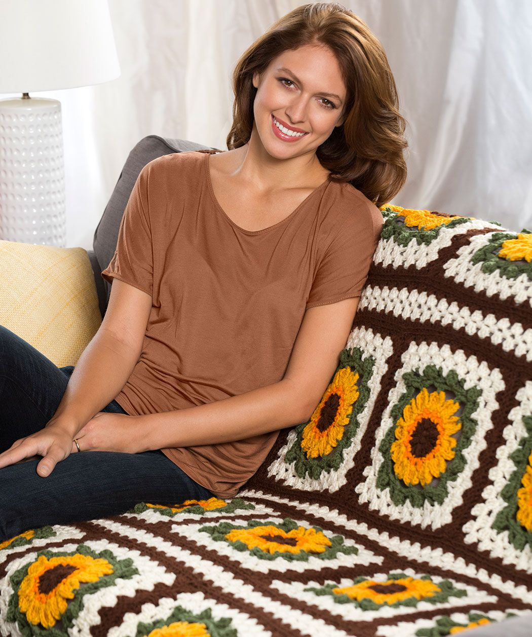 Sunflower throw crochet pattern crochet redheartyarns new new the bold colors of this crochet sunflower afghan make it really pop its a basic granny square free crochet afghan pattern that is fun to bankloansurffo Choice Image