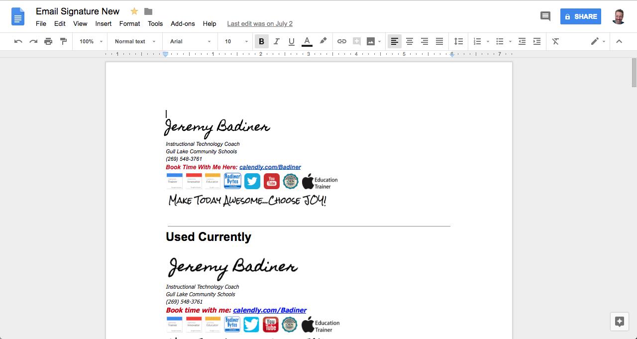 Badiner Bytes Tech Tidbits Creative Gmail Signature Teacher Life Teaching Signature