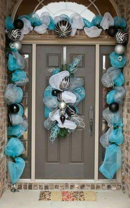 Deciraci n navide a para la entrada de la puerta navidad for Guirnaldas para puertas navidenas