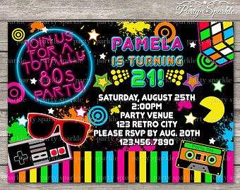 Free Roller Skating Birthday Party Invitations ~ Neon skate party retro roller disco birthday by partysparkle
