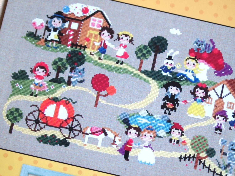 Cute modern cross stitch patterns and kits fairy by sewsewnsew