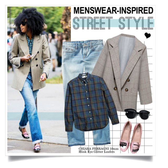 """""""Menswear-Inspired Prep"""" by elske88 ❤ liked on Polyvore featuring Gap, Chiara Ferragni, Oliver Peoples, women's clothing, women's fashion, women, female, woman, misses and juniors"""