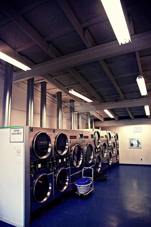 Washing Machines In An Empty Launderette Laundry Shop Laundry