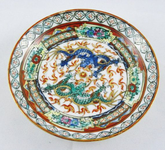 Asian Demitase Dragon Pattern Cup and Saucer Set by CrystalCoaster