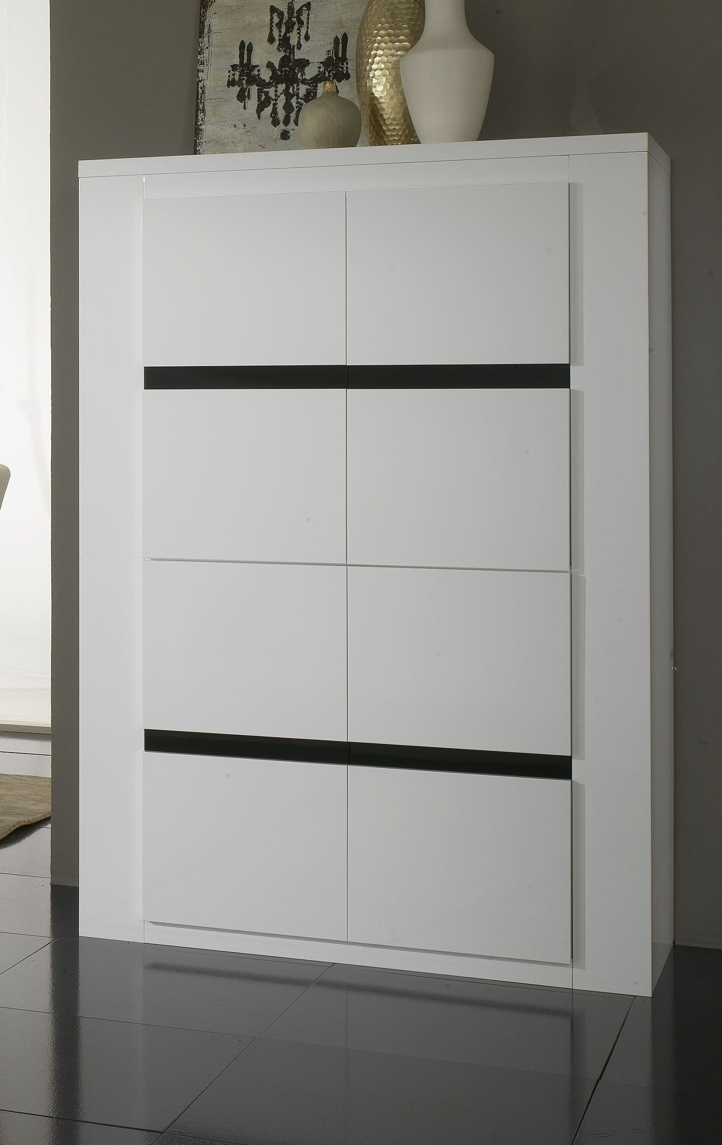 Buffet Haut Laqu Blanc Design Clara Buffet Haut Moderne Design  # Meuble Haut Pour Salon Blanc Laque