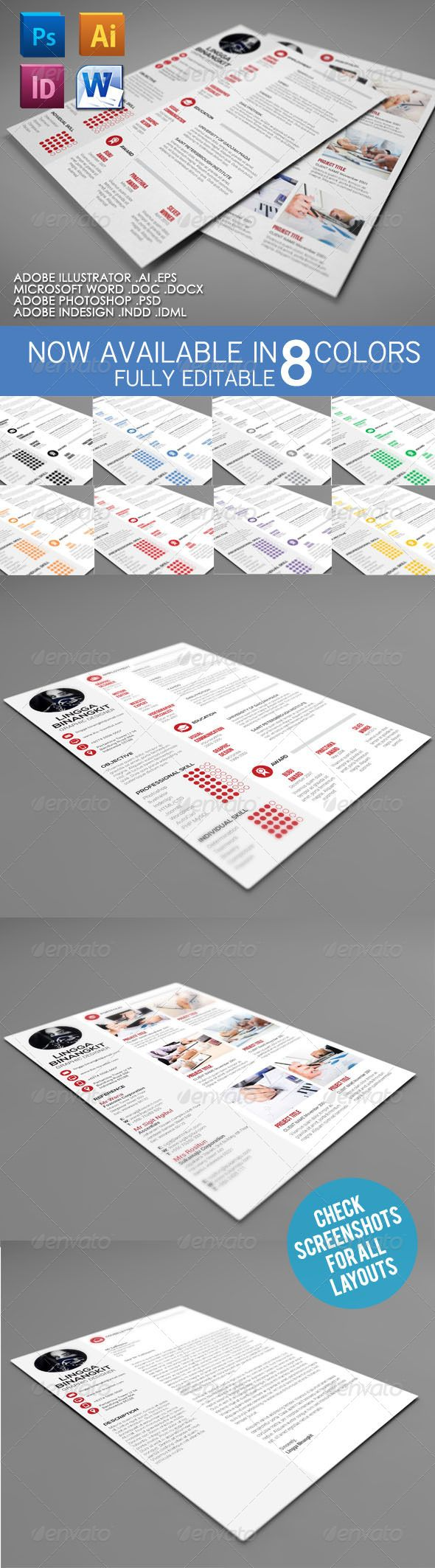 Sewon Clean Resume Template Volume 4 | Pinterest | Template, Text ...