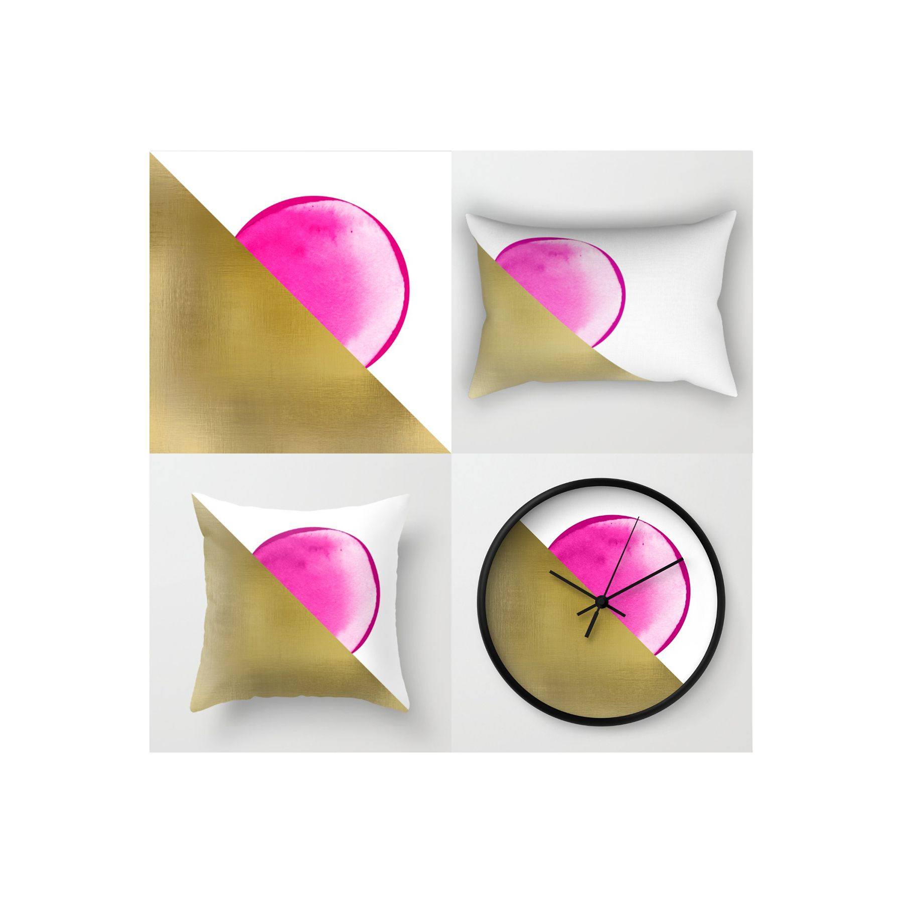Playing with textures - Sunset #textures #texture #gold #sunset #pink #pillows #artprint #poster #deco #clock #shapes #round #triangle #geometric #design #diseño #abstract @society6