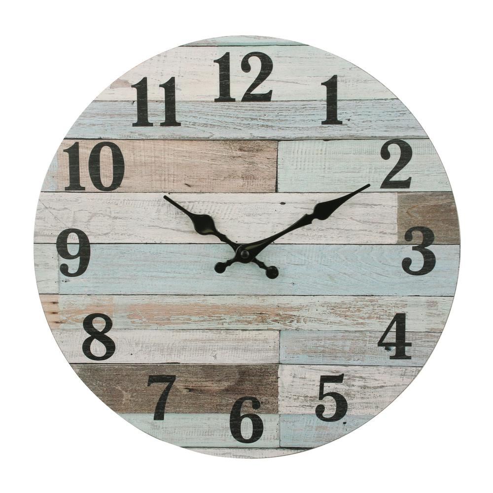 Stonebriar Collection Coastal Worn Blue And White Wooden Wall Clock Light Blue Off White Rustic Wall Clocks Blue Wall Clocks Wood Wall Clock