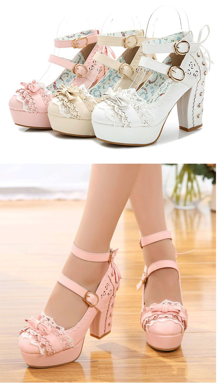 c6a8a9ff58fcc Doux haute talons chaussures lolita princesse dentelle arc chaussures  femmes talon épais plate forme chaussures sys 1166 dans Pompes de femmes de  Chaussures ...