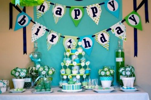 frog prince birthday party blue and green banner on nave ribbon with navy letters - Birthday Party Decoration Ideas
