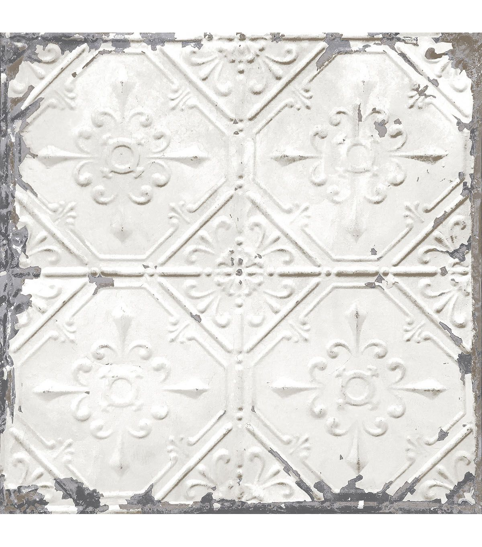 Wallpops Nuwallpaper Peel Stick Wallpaper Vintage Tile Vintage Tin Tiles White Tin Ceiling Antique Tin Ceiling Tile