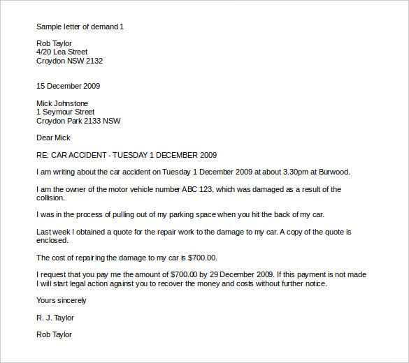 Demand Letter Templates Free Sample Example Format Download Pdf