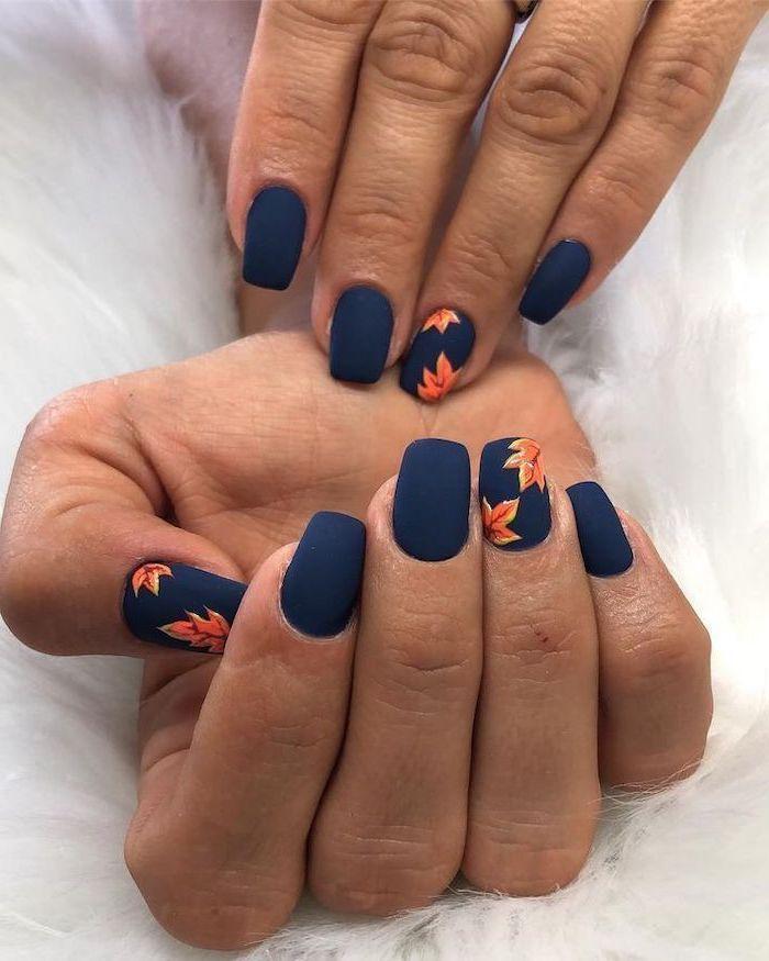Dark Blue Matte Nail Polish Orange Leaves Spring Nail Designs Short Nails W In 2020 Blue Matte Nails Stylish Nails Art Cute Nail Designs