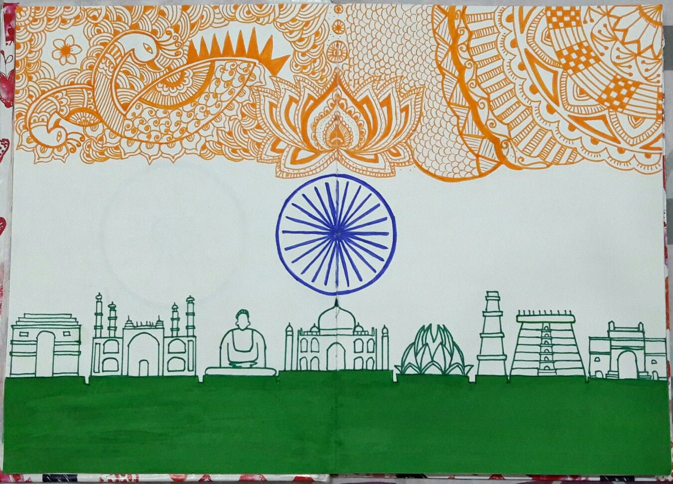 Nationalism Pencil Sketches For 15 August Independence Day Black And White
