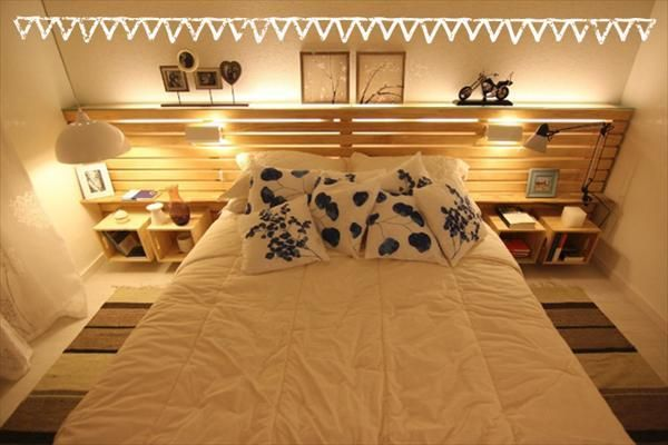 Bed is the thing on which we take rest after our working, in this was told about the pallet bed side tables and headboard. Look in the picture The pallet wooden headboard shining because of the lights which put in the headboard.