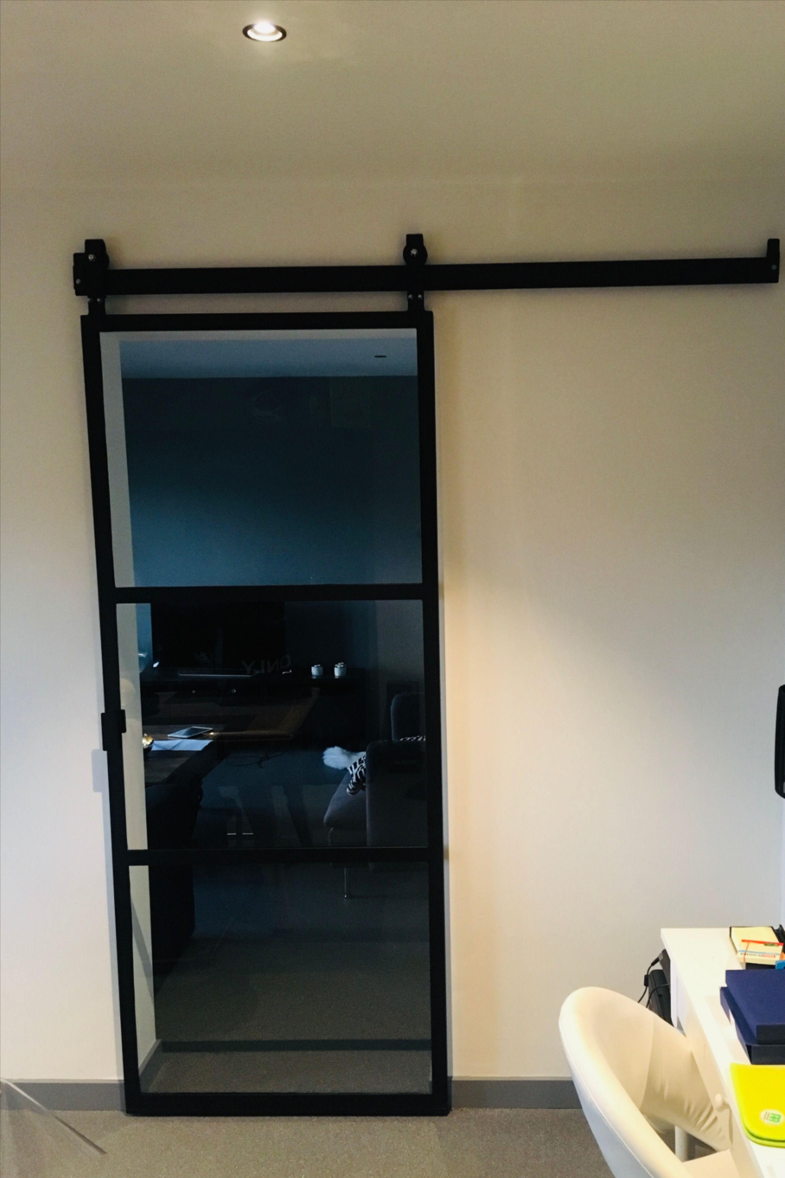 Steel door with glass