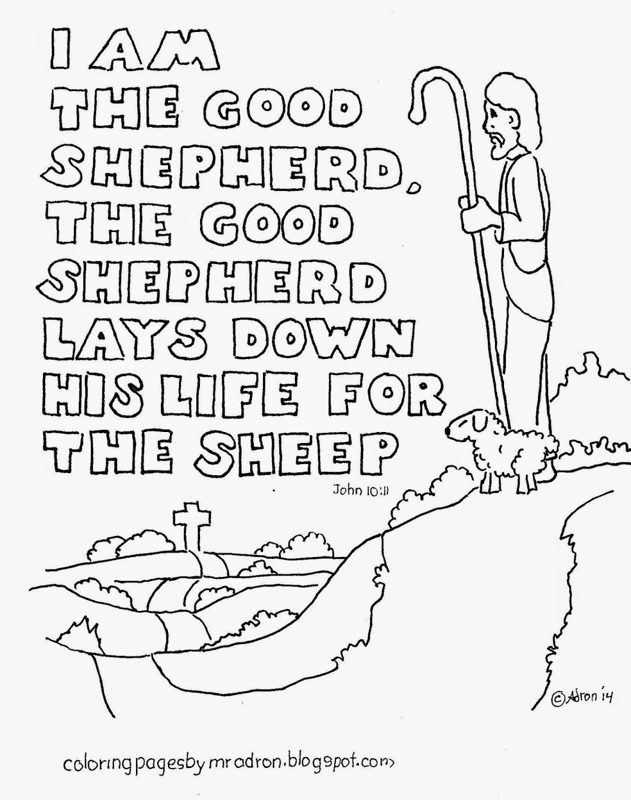 Coloring Pages For Kids By Mr Adron I Am The Good Shepherd Free Bible Verse