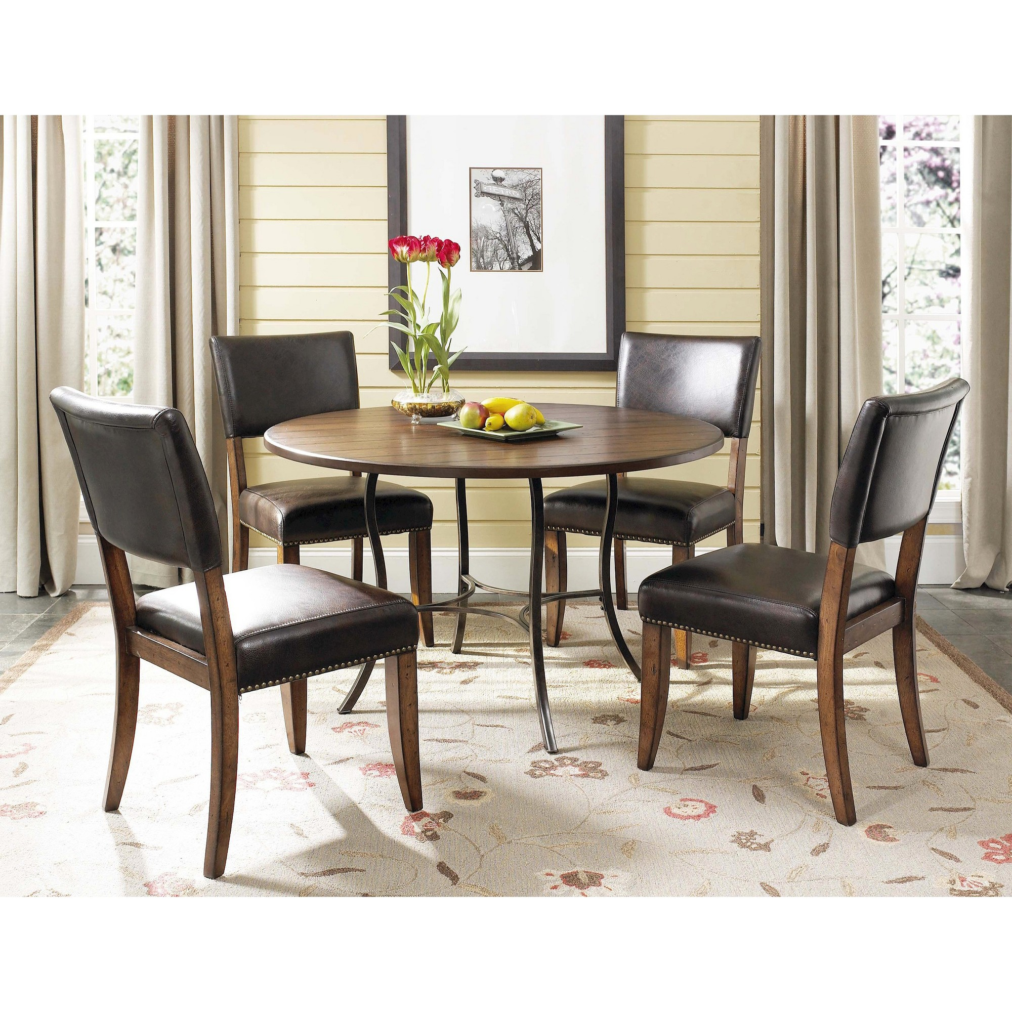 piece cameron round dining table with padded back chairs set wood