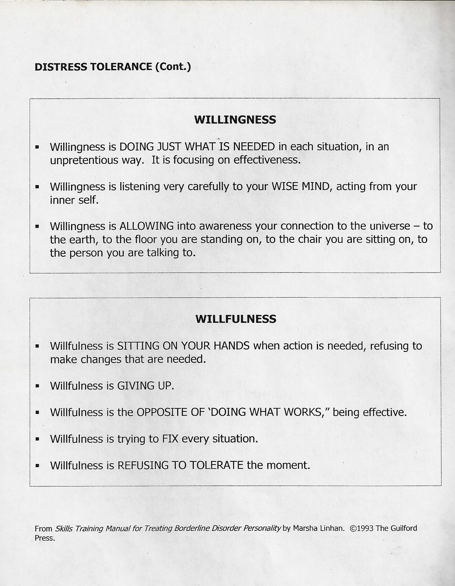 Distress Tolerance Willingness Willfulness
