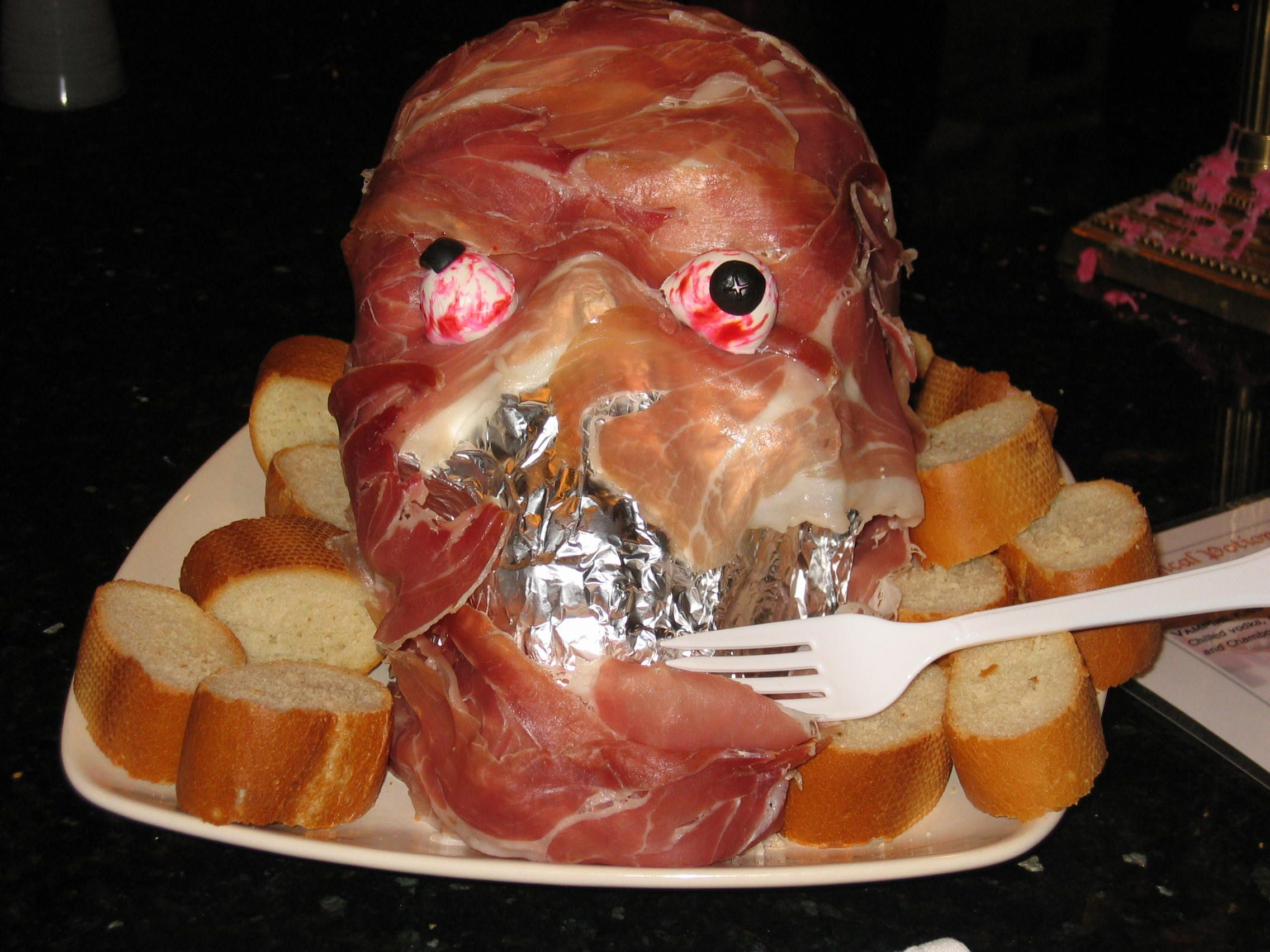 proscuitto-ham-1 Plastic skull (can be found at most party stores ...