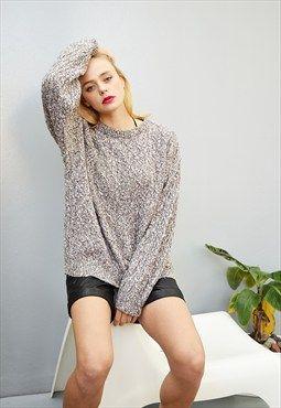 90 s retro grunge oversized knitted Boyfriend s jumper top  cbeaae929