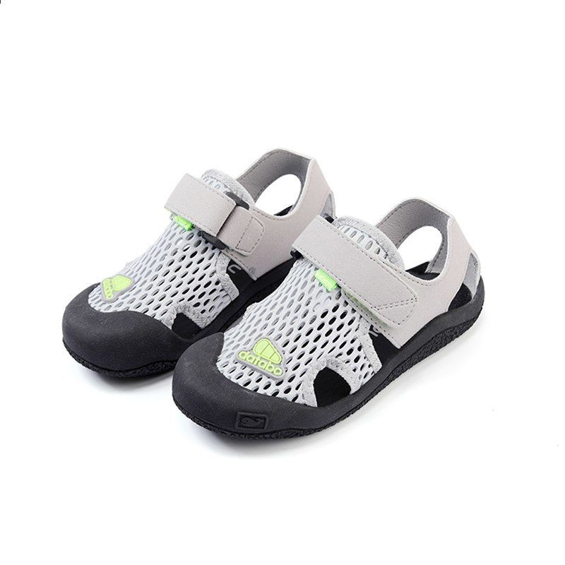 5aafdaa97f3 Zaizaile 2018 καλοκαιρινά παιδιά μαύρο αναπνεύσιμο ματιών παπούτσι αγόρι  μόδα παραλία Sandal μικρό παιδί μάρκα επίπεδη μωρό γκρι