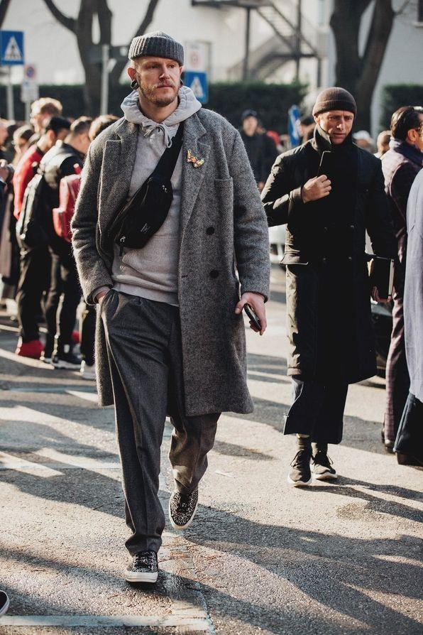 Street style à la Fashion Week homme automne-hiver 2018-2019 à Milan