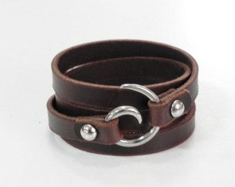 Brown Leather Bracelet Cuff With By Beadsiam