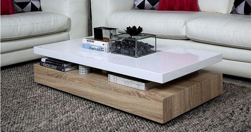 table basse design sonoma laquee blanc