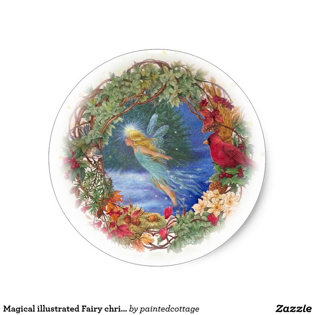 christmas sticker  with illustration of magical fairy, winter nocturne, fairy is border by xmas wreath with cardinal & winter greens, original fantasy painting  by judithchengart