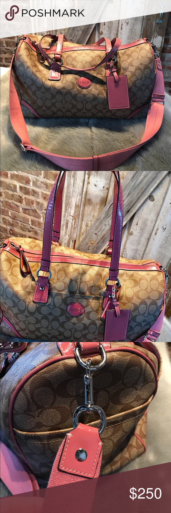 🌸Authentic Coach Peyton Signature Canvas Duffle🌸 This absolutely beautiful duffel bag, Coach no f1393-f77320, is in excellent condition!  Perfect for a weekend getaway or carry-on at the airport. You can fit a ton of items in this bag and look stylish while you travel. It has lots of pockets on the outside and inside, also has a zipper compartment on the inside.  Size is featured in the pictures Coach Bags Travel Bags