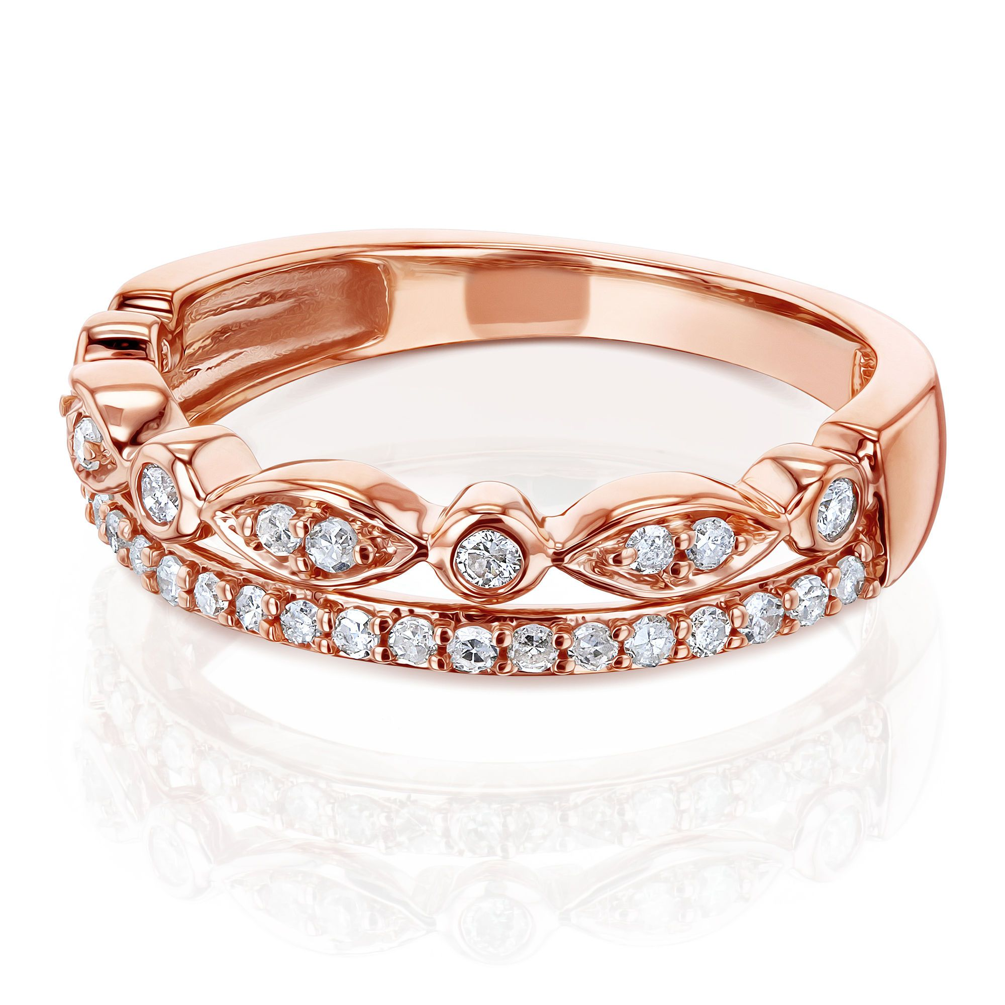 Mixed Set Double Row Diamond Band 10k Rose Gold Diamond Bands Double Diamond Band Jewelry