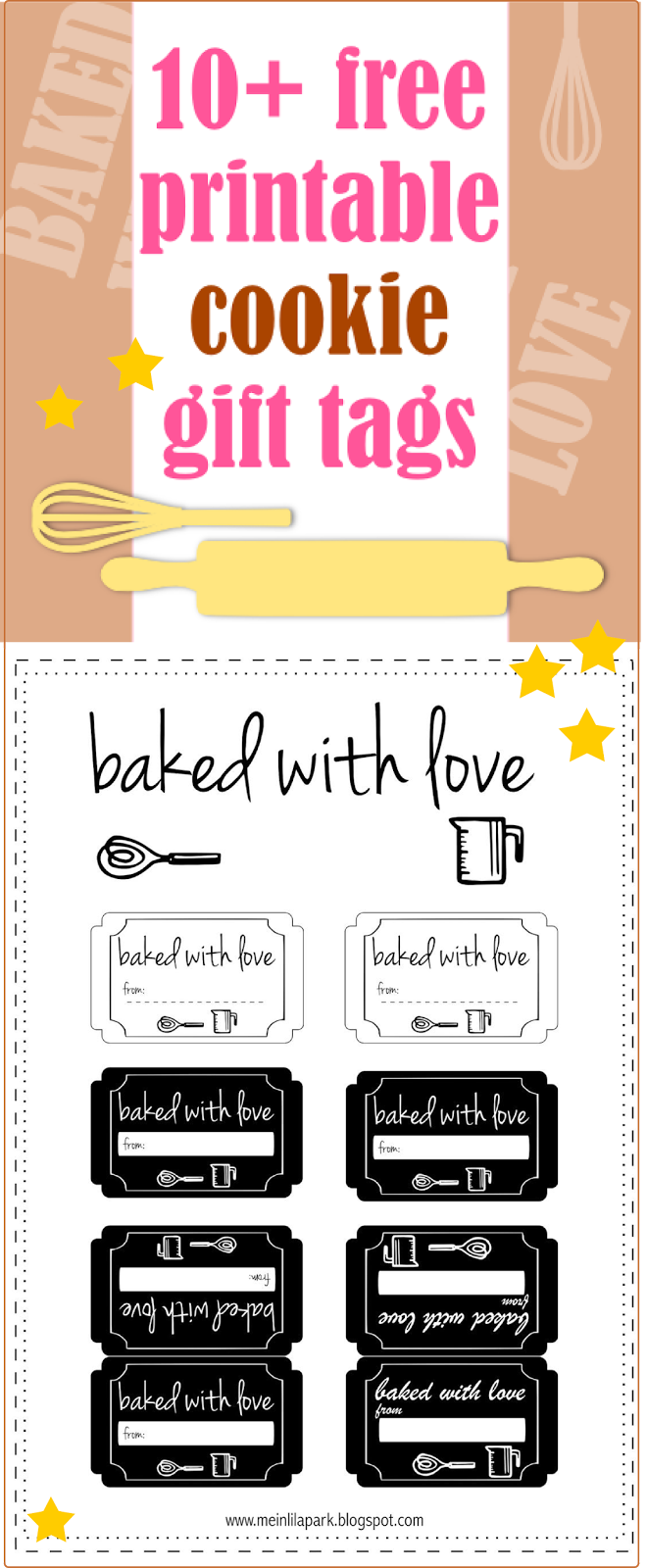10 free printable cookie gift tags round up gift labels free free printable cookie tags gift labels for bakery goods baked with love negle Images