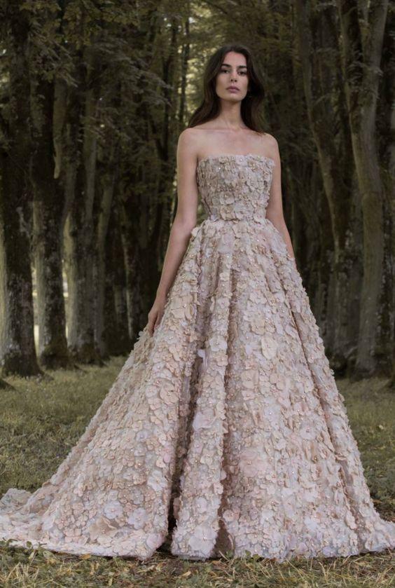 Unique Strapless Beige Floral Applique Wedding Dress