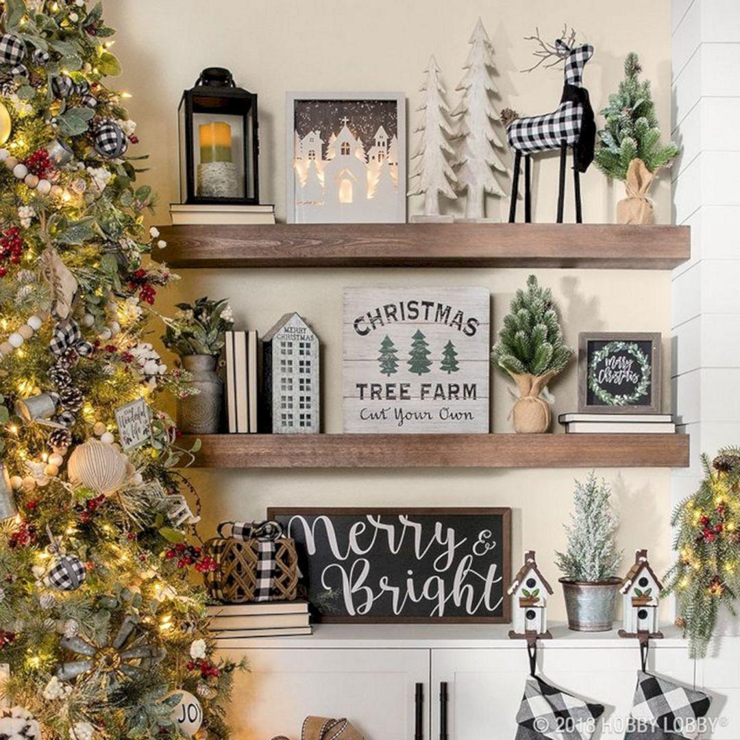 35 Marvelous Diy Farmhouse Christmas With Burlap Design Ideas Decor Gardening Ideas Christmas Bookshelf Christmas Decorations Farmhouse Christmas
