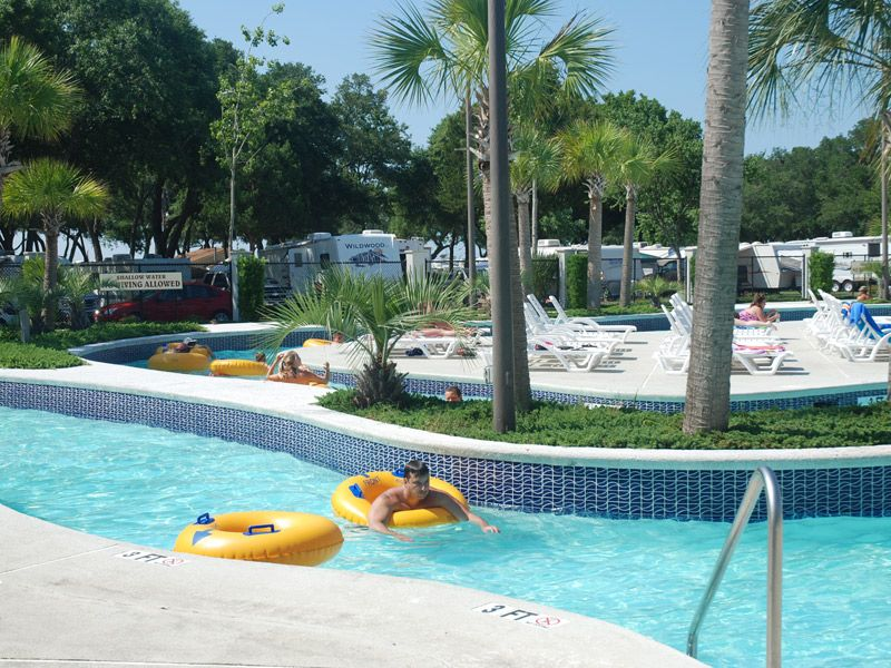 The lazy river at Pirateland Campground in Myrtle Beach