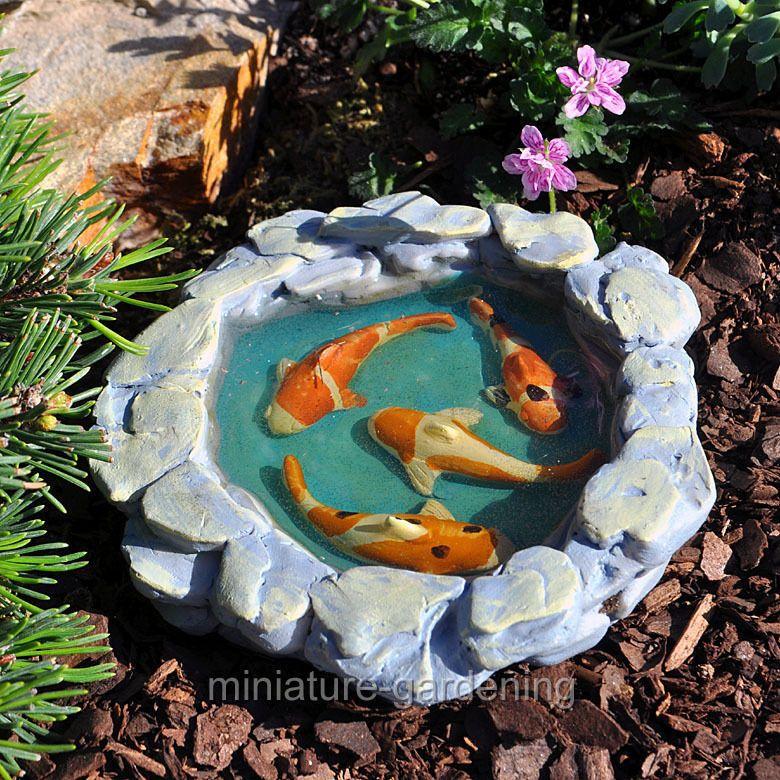 Miniature Fairy Garden Tranquil Koi Pond In Home & Garden