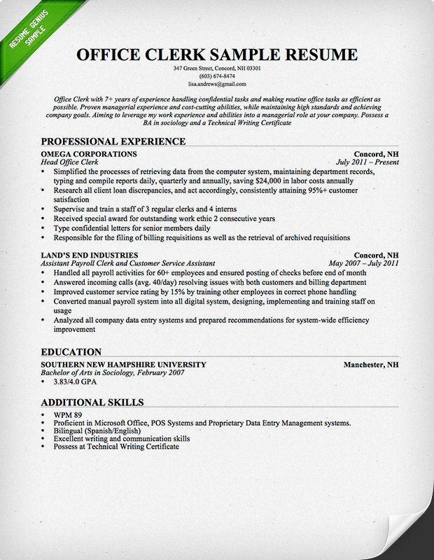 Office Clerk Resume Sample RESUMES Pinterest Sample resume - objective for resume secretary
