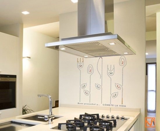 Vinilos de cubiertos gigantes elegantes para la pared de la cocina ...