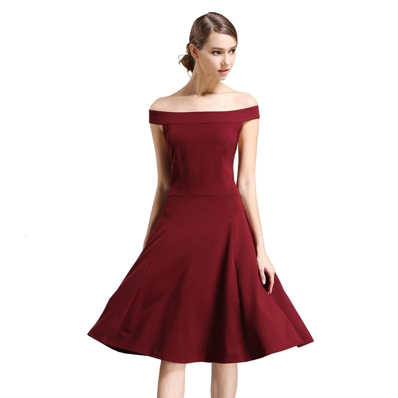 2a376eda8d Buenos Ninos Women Sexy Elegant Draped Slash Neck Sleeve Cuffs Party Summer Swing  Skater Dress