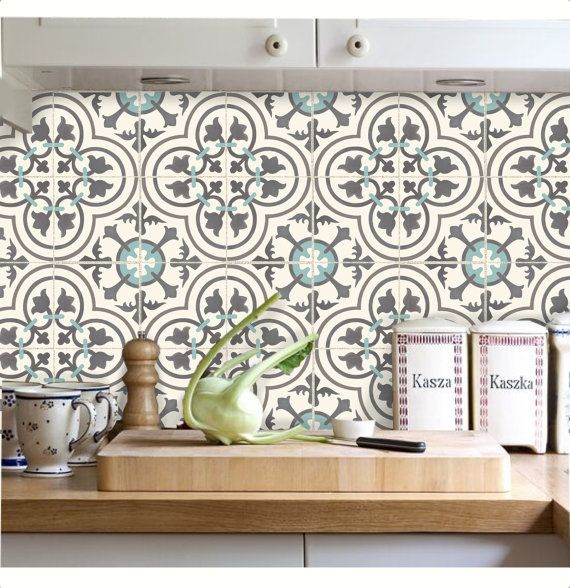 Tile decals stickers for kitchen backsplash floor bath for Credence decorative adhesive