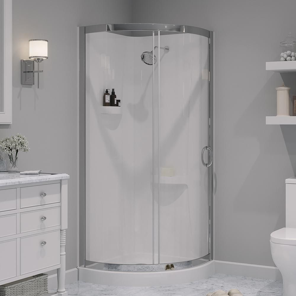 Ove Decors Breeze 32 In X 32 In X 76 In Shower Kit With Reversible Sliding Door And Shower Base Breeze 31 Shower Kit With Walls The Home Depot In 2020