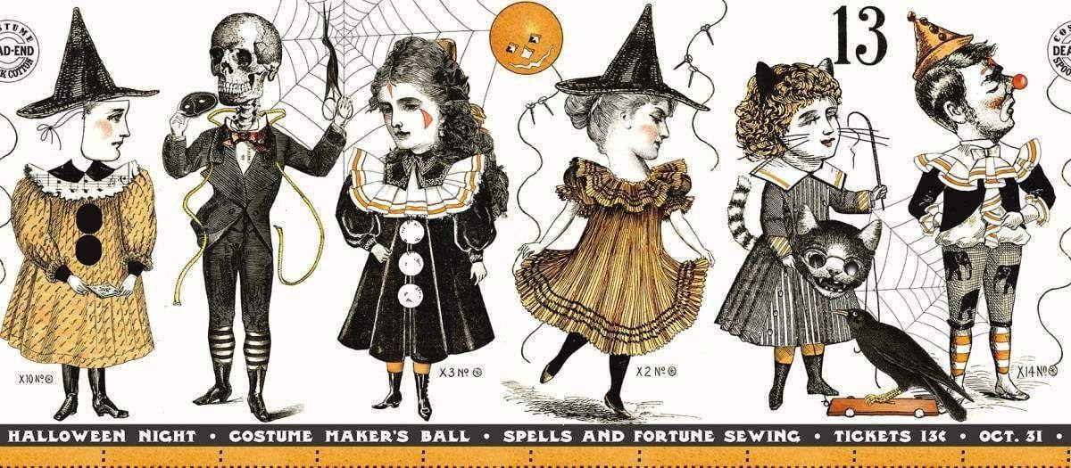 Riley Blake Costume Maker/'s Ball by Janet Wecker Frisch C8363 Cream BorderCotton