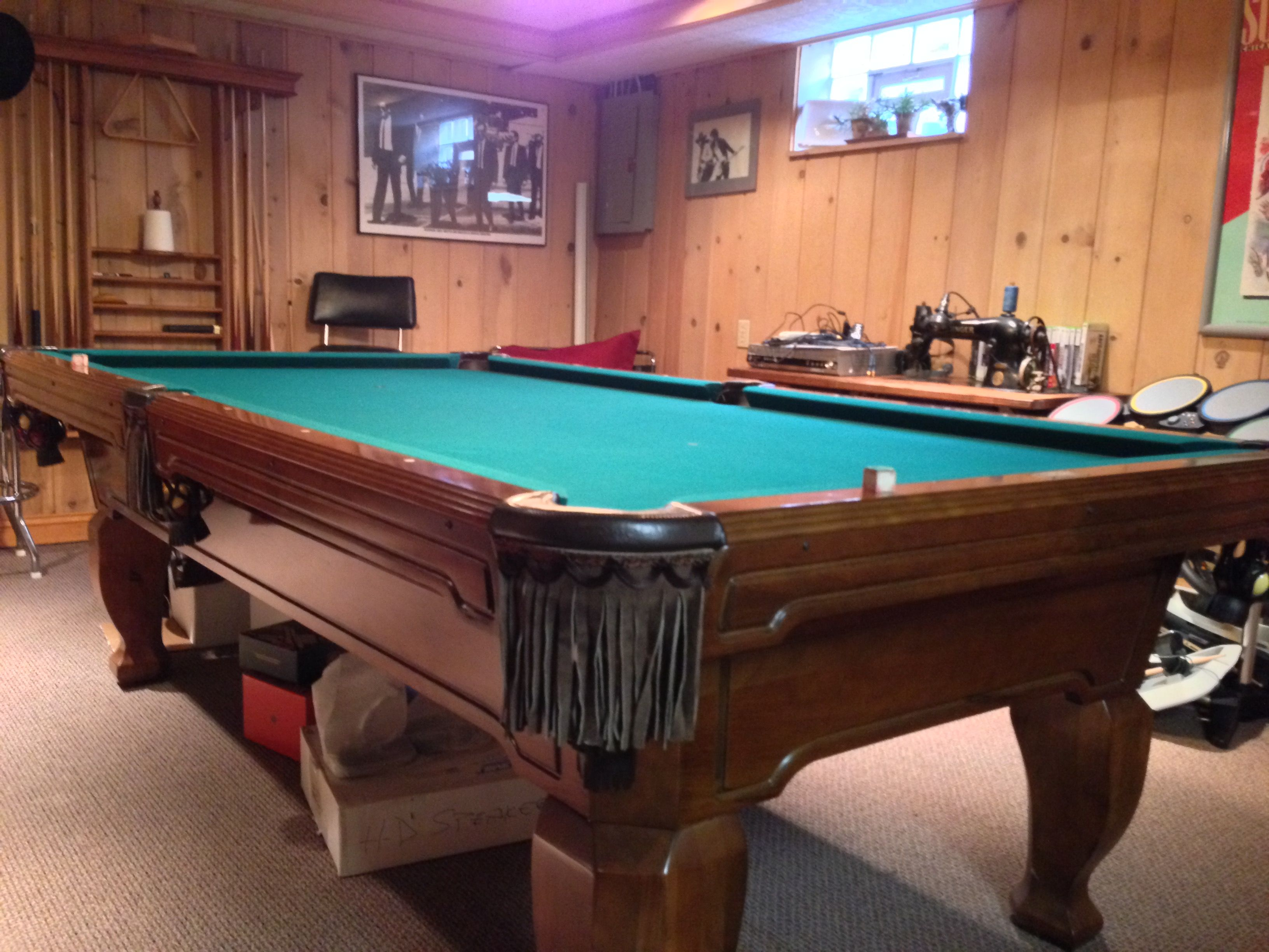 Brunswick Billiards Pool Table Installed New Cloth Complete