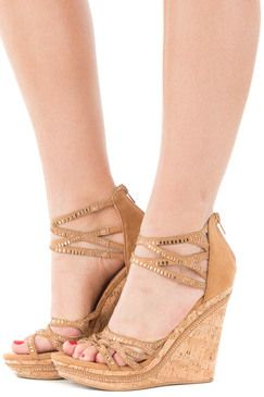 Tan Studded Strappy Wedges