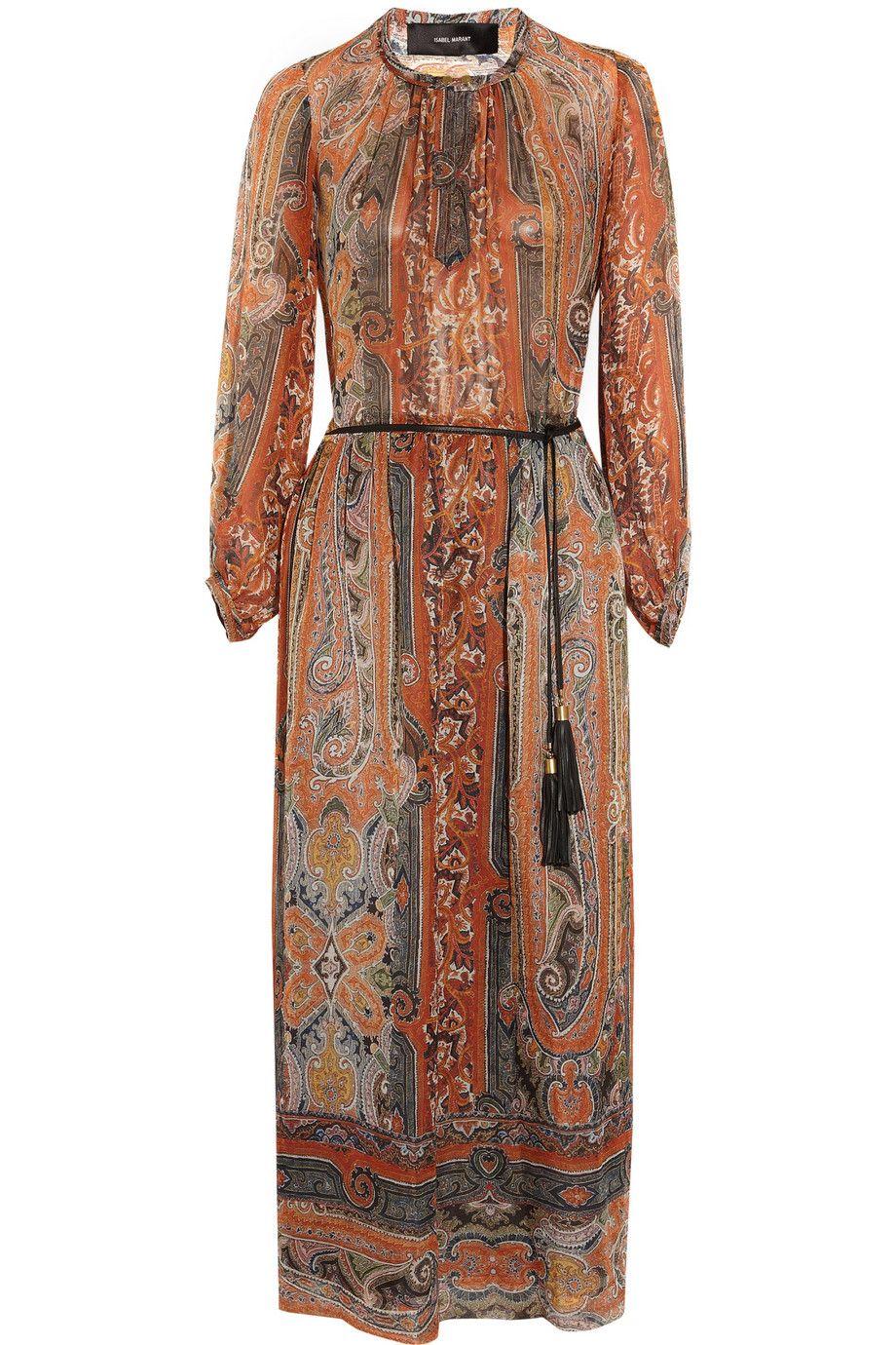 Brick Samuel Printed Silk Gauze Midi Dress Isabel Marant Clothes Design Dresses Gauze Maxi Dress [ 1380 x 920 Pixel ]