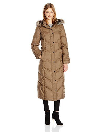 f2ce25e64091 London Fog Women s Long Mitred Quilt Down with Faux Fur Trim Hood ...