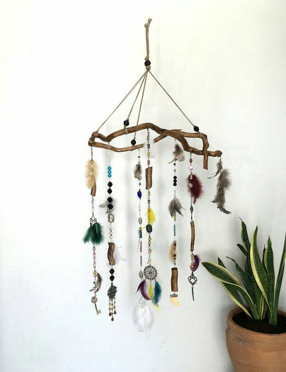 Boho mobile, Rustic wall decor, feathers mobile, Gypsy wall decor ...