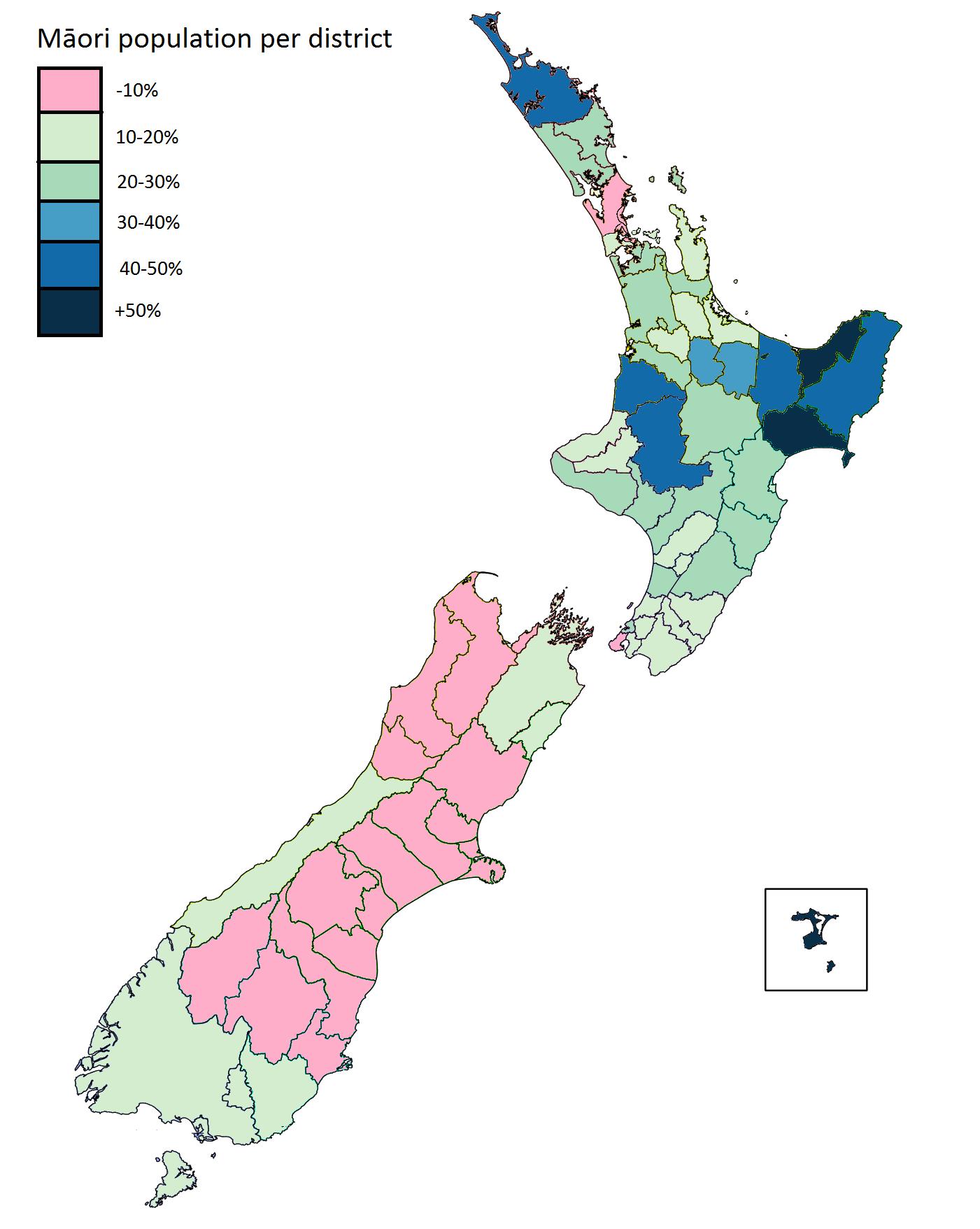 Maori Population Percentage Per District In New Zealand Australia Map Language Map Maori