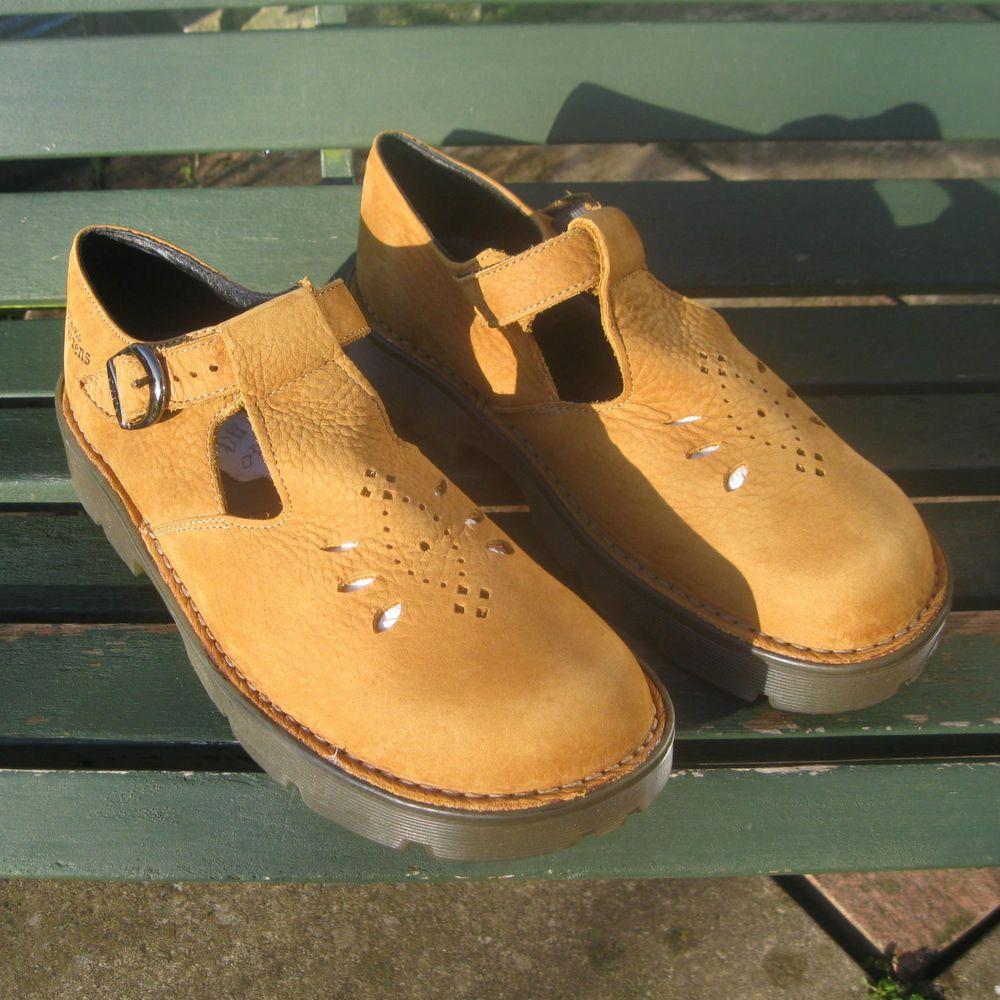 Dr Martens Vinatge Mustard Leather T Bar Shoes   Sandals Size 8 BNIB ... 7a7101901649